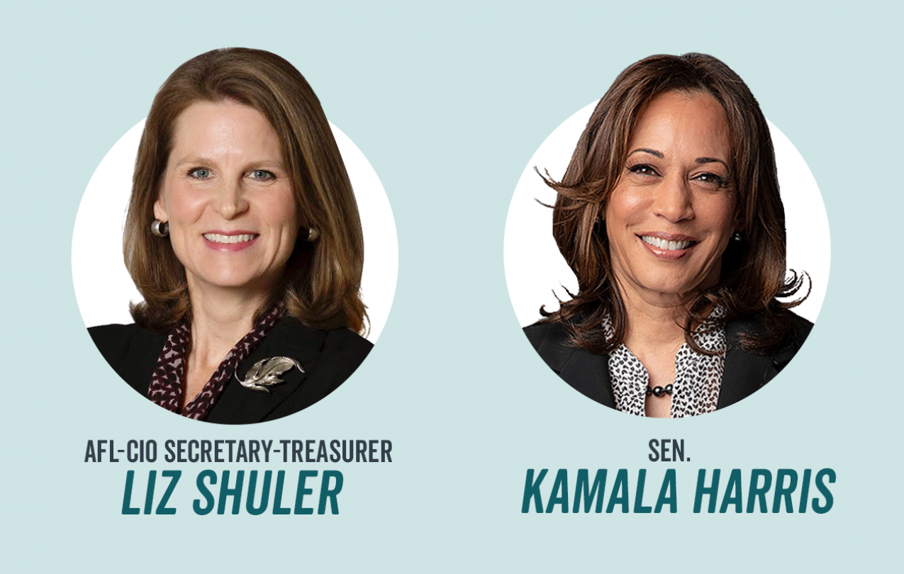Kamala Harris and Liz Shuler